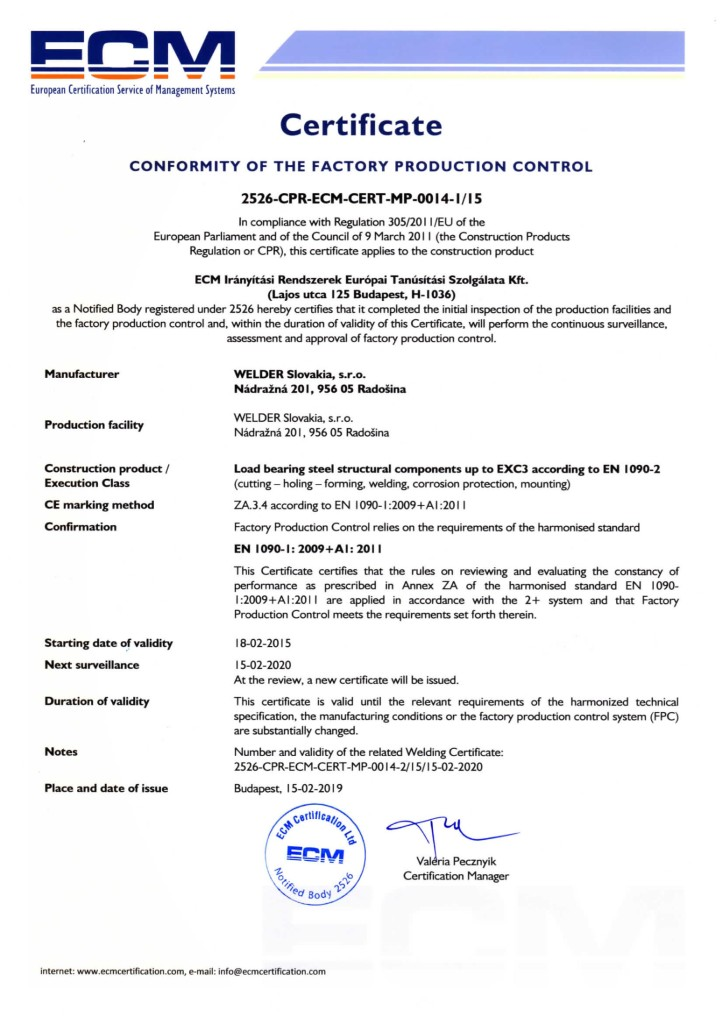 Certifikát ECM conformity of the factory -page-001